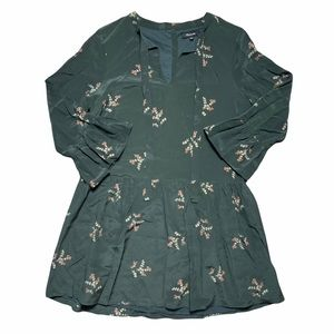 Madewell Forest Green Long Sleeve Mini Dress S